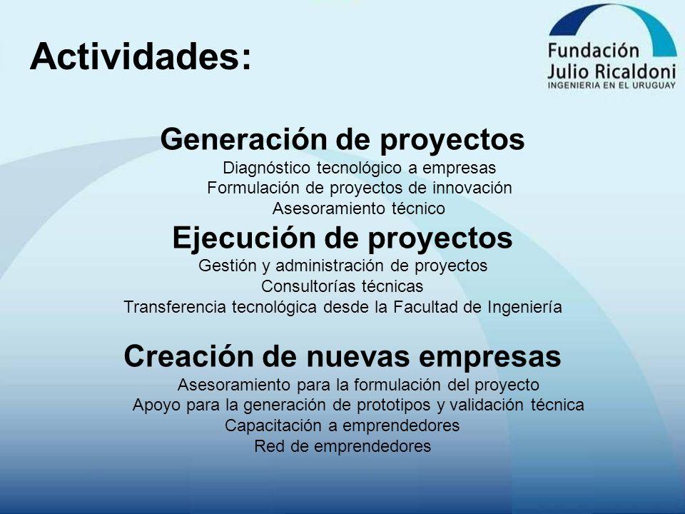 Actividades: Generación de proyectos Diagnóstico tecnológico a empresas Formulación de proyectos de innovación Asesoramiento técnico Ejecución de proy
