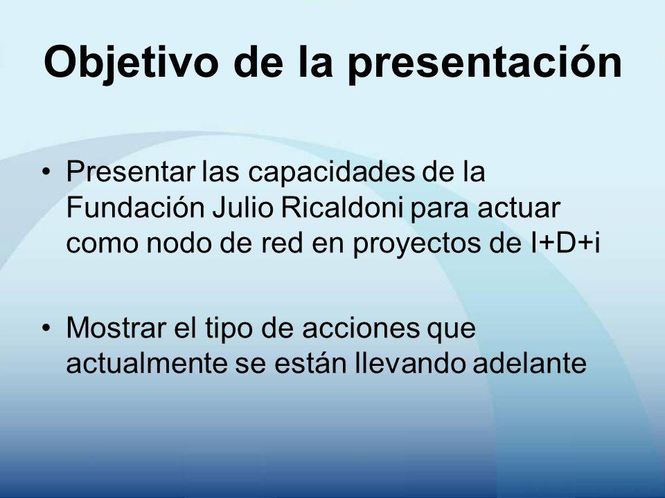 Objetivo de la presentación Presentar las capacidades de la Fundación Julio Ricaldoni para actuar como nodo de red en proyectos de I+D+i Mostrar el ti
