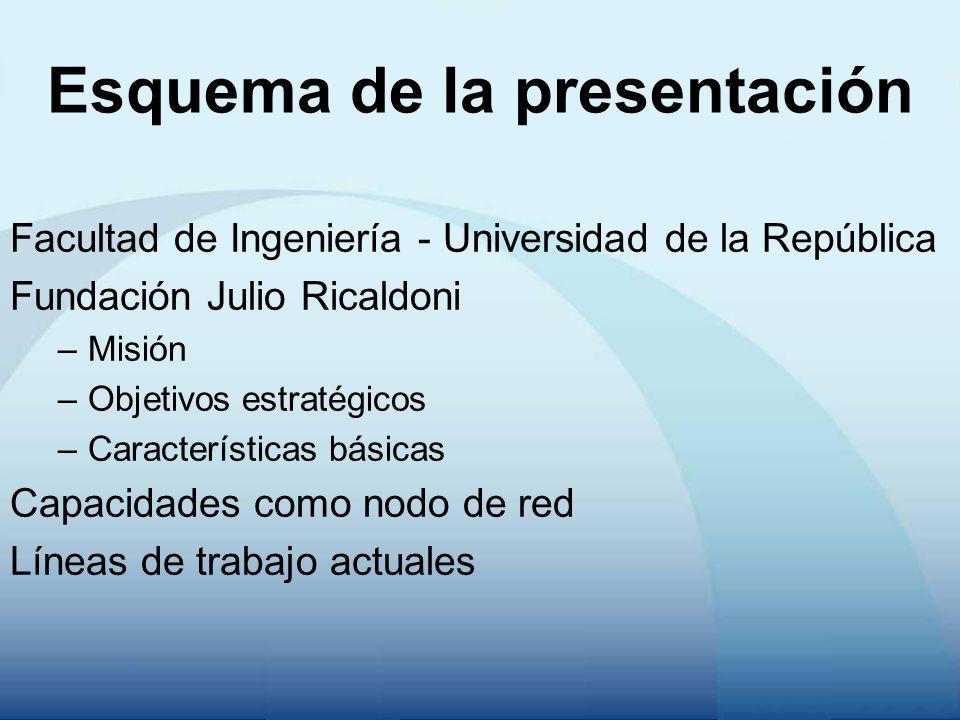 Esquema de la presentación Facultad de Ingeniería - Universidad de la República Fundación Julio Ricaldoni –Misión –Objetivos estratégicos –Características básicas Capacidades como nodo de red Líneas de trabajo actuales