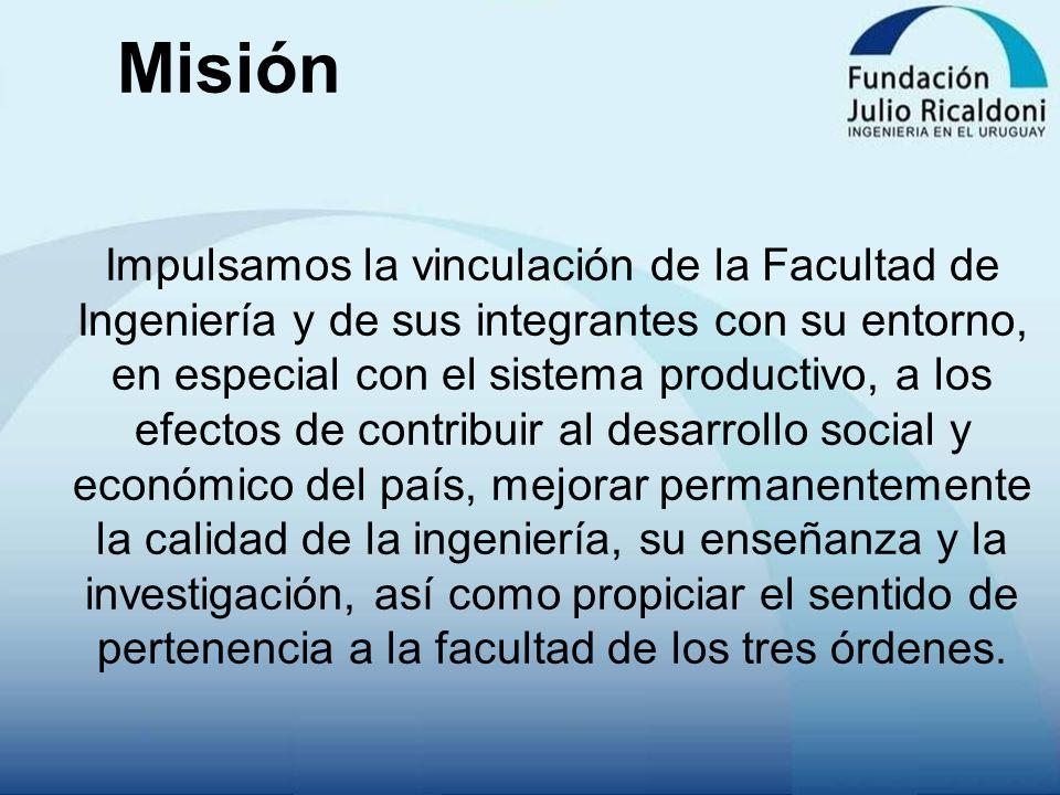 Misión Impulsamos la vinculación de la Facultad de Ingeniería y de sus integrantes con su entorno, en especial con el sistema productivo, a los efecto