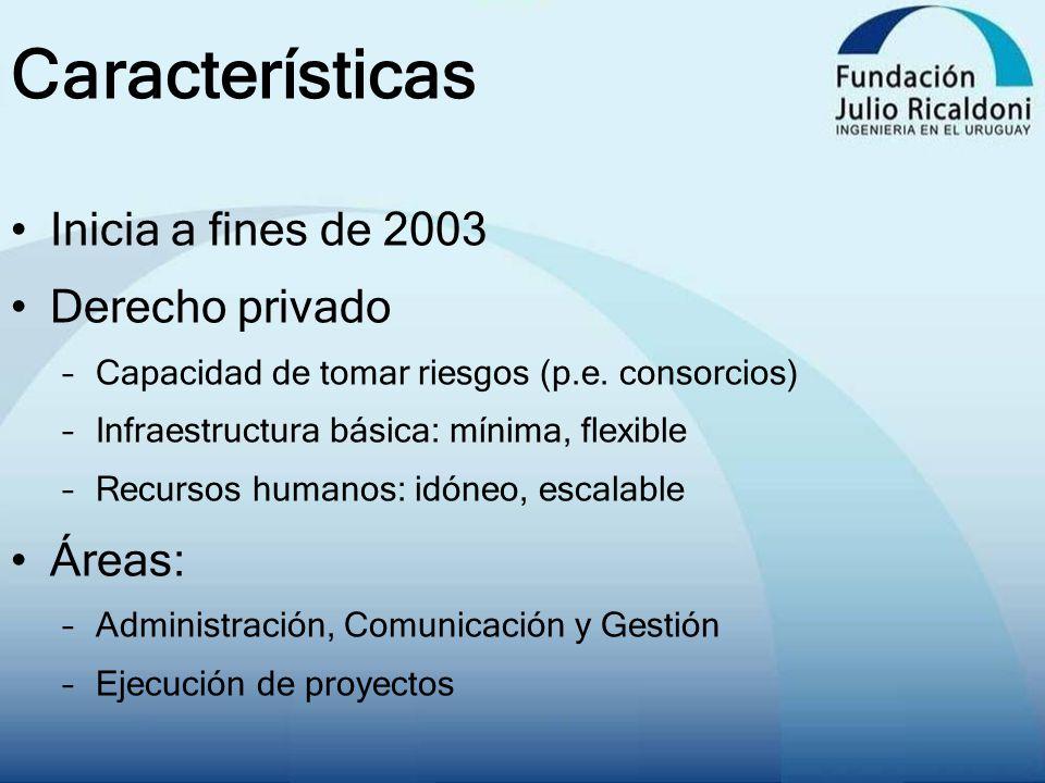 Características Inicia a fines de 2003 Derecho privado –Capacidad de tomar riesgos (p.e. consorcios) –Infraestructura básica: mínima, flexible –Recurs