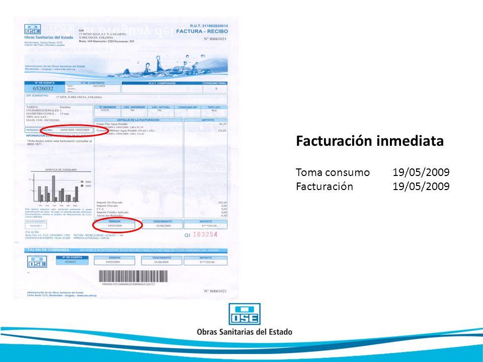 Facturación inmediata Toma consumo 19/05/2009 Facturación 19/05/2009