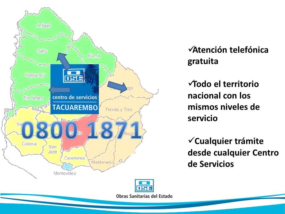 Atención telefónica gratuita Todo el territorio nacional con los mismos niveles de servicio Cualquier trámite desde cualquier Centro de Servicios