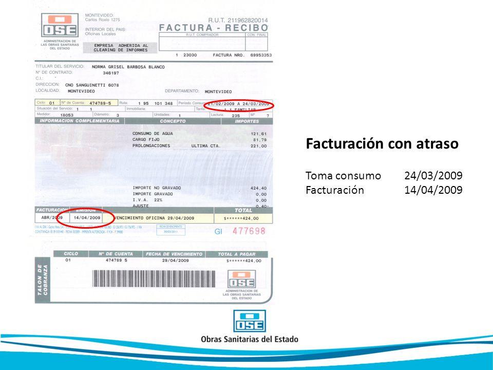 Facturación con atraso Toma consumo 24/03/2009 Facturación 14/04/2009