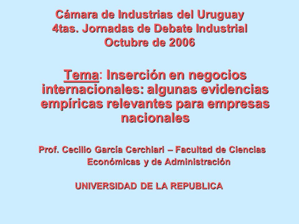 Cámara de Industrias del Uruguay 4tas. Jornadas de Debate Industrial Octubre de 2006 TemaInserción en negocios internacionales: algunas evidencias emp