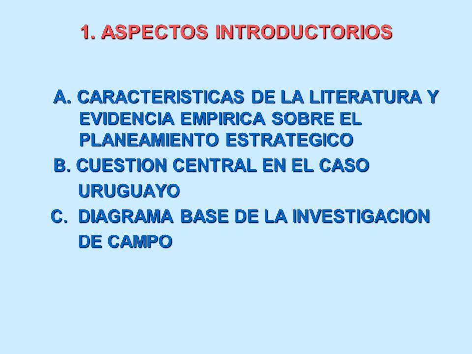 1. ASPECTOS INTRODUCTORIOS A. CARACTERISTICAS DE LA LITERATURA Y EVIDENCIA EMPIRICA SOBRE EL PLANEAMIENTO ESTRATEGICO B. CUESTION CENTRAL EN EL CASO U