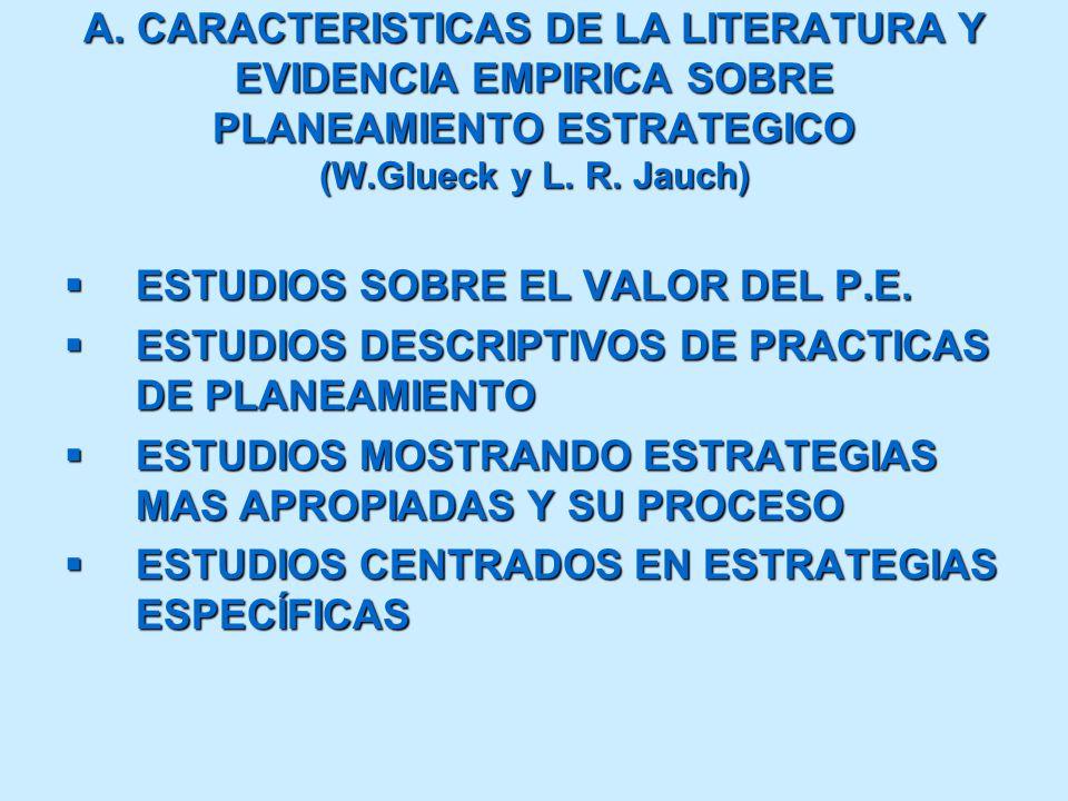 A. CARACTERISTICAS DE LA LITERATURA Y EVIDENCIA EMPIRICA SOBRE PLANEAMIENTO ESTRATEGICO (W.Glueck y L. R. Jauch) ESTUDIOS SOBRE EL VALOR DEL P.E. ESTU