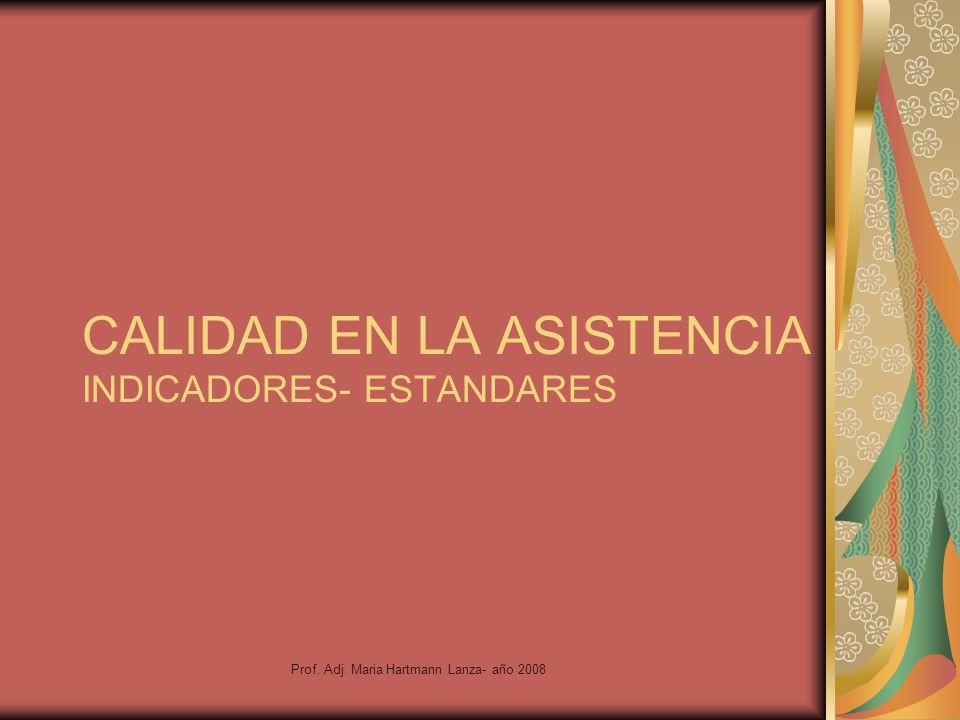 Prof. Adj. Maria Hartmann Lanza- año 2008 CALIDAD EN LA ASISTENCIA INDICADORES- ESTANDARES