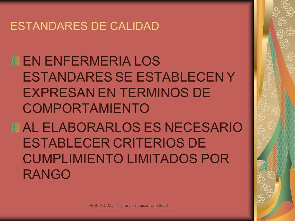 Prof. Adj. Maria Hartmann Lanza- año 2008 ESTANDARES DE CALIDAD EN ENFERMERIA LOS ESTANDARES SE ESTABLECEN Y EXPRESAN EN TERMINOS DE COMPORTAMIENTO AL