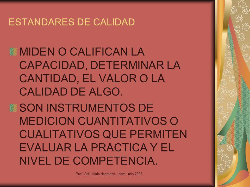 Prof. Adj. Maria Hartmann Lanza- año 2008 ESTANDARES DE CALIDAD MIDEN O CALIFICAN LA CAPACIDAD, DETERMINAR LA CANTIDAD, EL VALOR O LA CALIDAD DE ALGO.