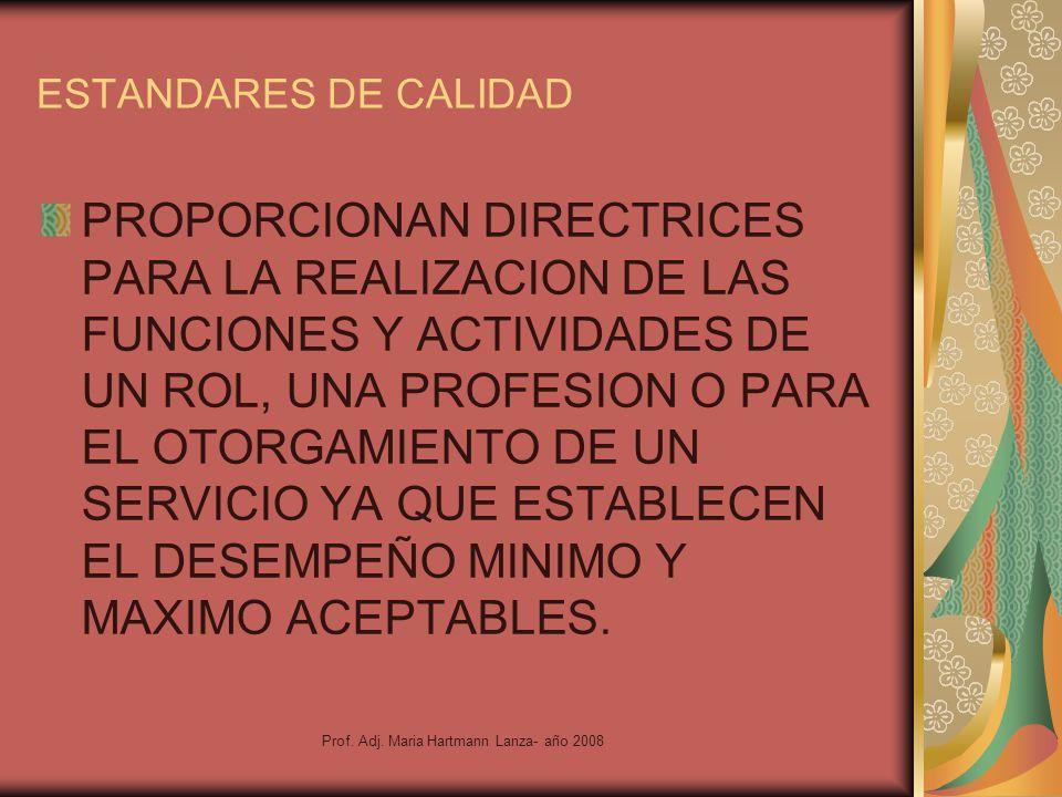 Prof. Adj. Maria Hartmann Lanza- año 2008 ESTANDARES DE CALIDAD PROPORCIONAN DIRECTRICES PARA LA REALIZACION DE LAS FUNCIONES Y ACTIVIDADES DE UN ROL,