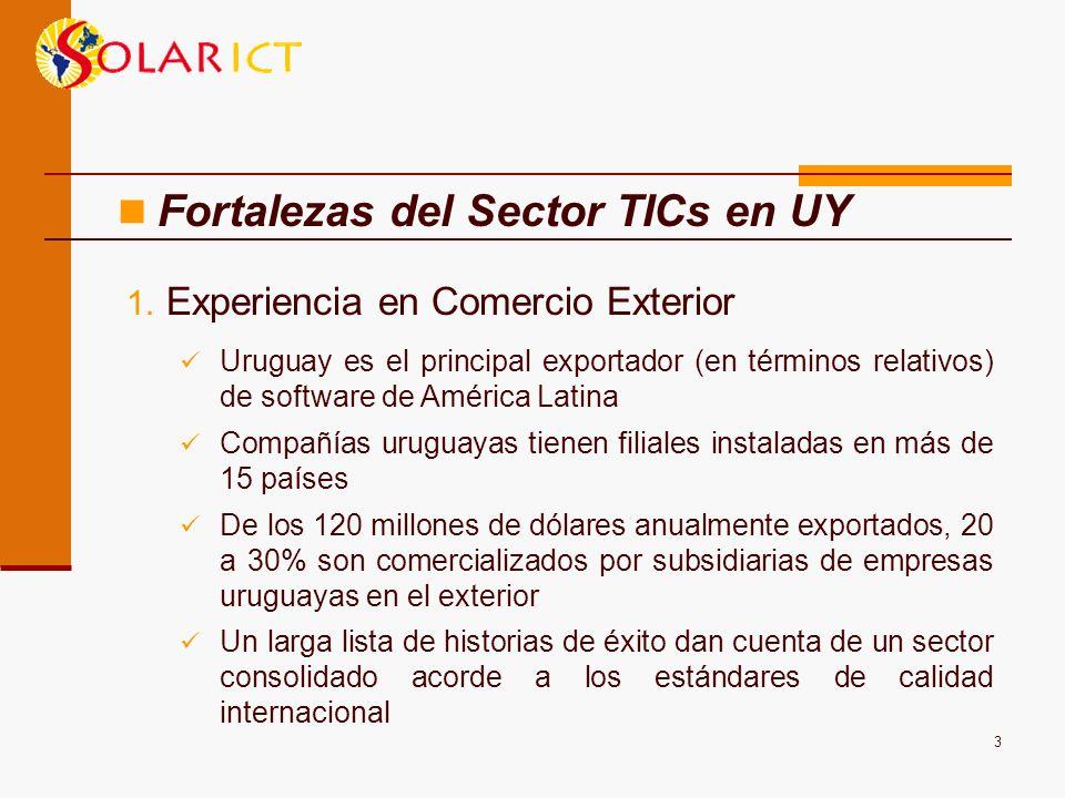 3 1. Experiencia en Comercio Exterior Uruguay es el principal exportador (en términos relativos) de software de América Latina Compañías uruguayas tie