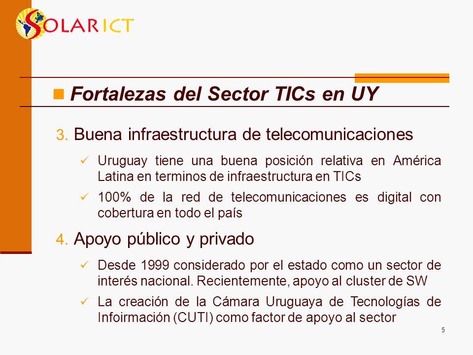 5 3. Buena infraestructura de telecomunicaciones Uruguay tiene una buena posición relativa en América Latina en terminos de infraestructura en TICs 10