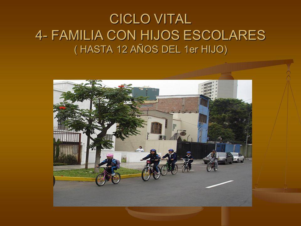 CICLO VITAL 4- FAMILIA CON HIJOS ESCOLARES ( HASTA 12 AÑOS DEL 1er HIJO)