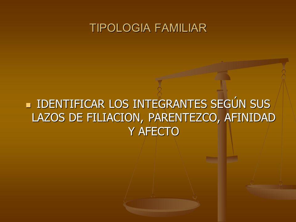 TIPOLOGIA FAMILIAR IDENTIFICAR LOS INTEGRANTES SEGÚN SUS LAZOS DE FILIACION, PARENTEZCO, AFINIDAD Y AFECTO IDENTIFICAR LOS INTEGRANTES SEGÚN SUS LAZOS DE FILIACION, PARENTEZCO, AFINIDAD Y AFECTO