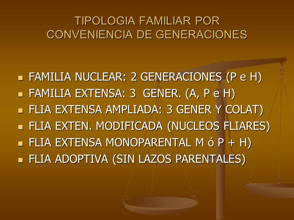 TIPOLOGIA FAMILIAR POR CONVENIENCIA DE GENERACIONES FAMILIA NUCLEAR: 2 GENERACIONES (P e H) FAMILIA NUCLEAR: 2 GENERACIONES (P e H) FAMILIA EXTENSA: 3 GENER.