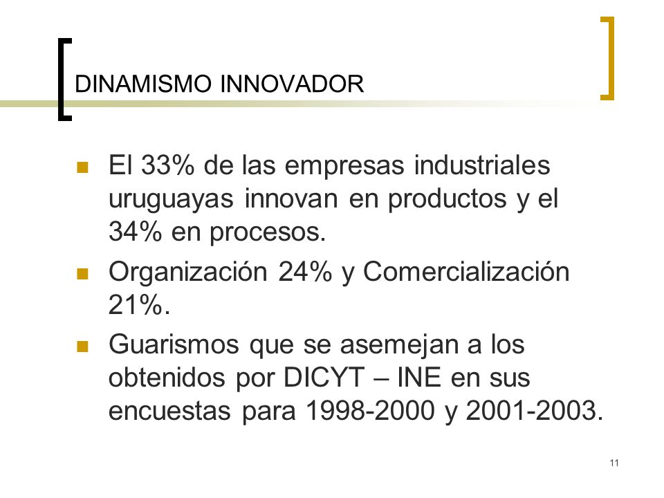 11 DINAMISMO INNOVADOR El 33% de las empresas industriales uruguayas innovan en productos y el 34% en procesos. Organización 24% y Comercialización 21