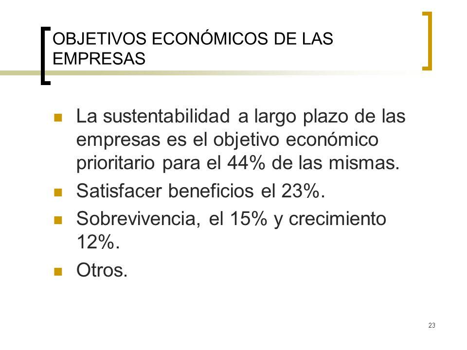 23 OBJETIVOS ECONÓMICOS DE LAS EMPRESAS La sustentabilidad a largo plazo de las empresas es el objetivo económico prioritario para el 44% de las misma