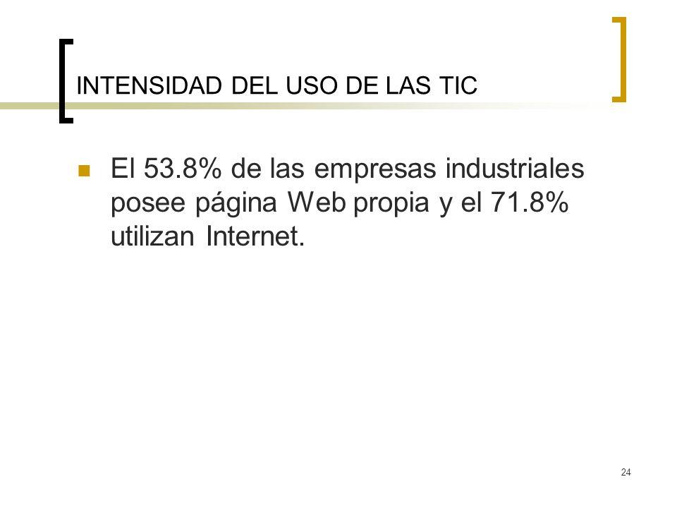 24 INTENSIDAD DEL USO DE LAS TIC El 53.8% de las empresas industriales posee página Web propia y el 71.8% utilizan Internet.