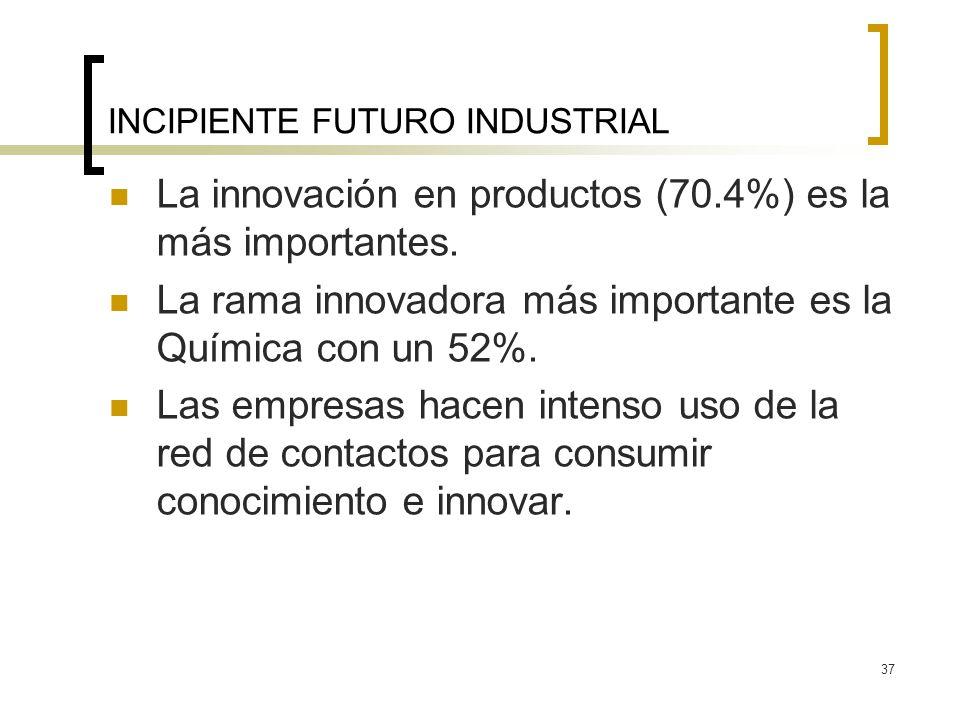 37 INCIPIENTE FUTURO INDUSTRIAL La innovación en productos (70.4%) es la más importantes. La rama innovadora más importante es la Química con un 52%.