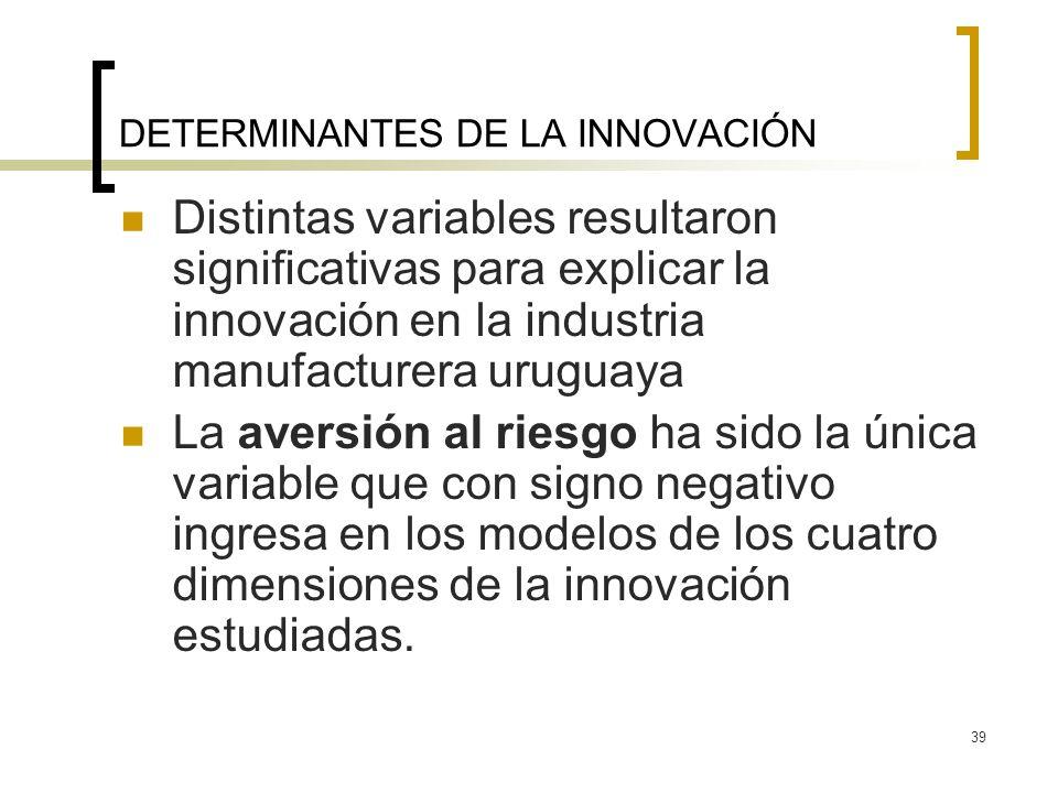 39 DETERMINANTES DE LA INNOVACIÓN Distintas variables resultaron significativas para explicar la innovación en la industria manufacturera uruguaya La aversión al riesgo ha sido la única variable que con signo negativo ingresa en los modelos de los cuatro dimensiones de la innovación estudiadas.