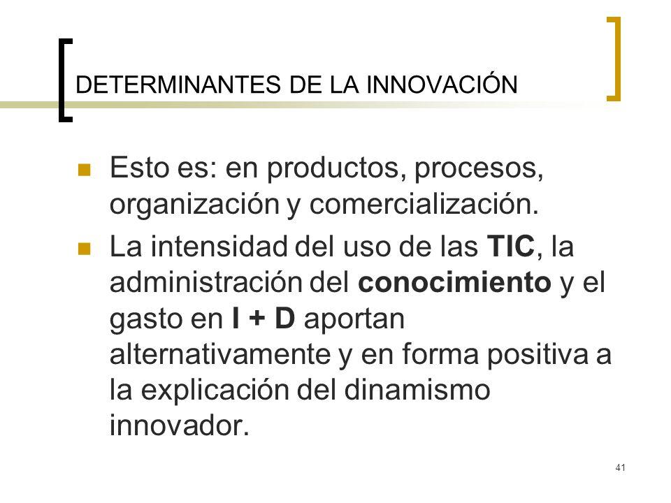41 DETERMINANTES DE LA INNOVACIÓN Esto es: en productos, procesos, organización y comercialización. La intensidad del uso de las TIC, la administració