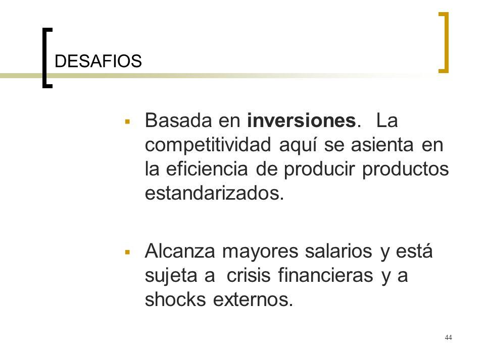 44 DESAFIOS Basada en inversiones. La competitividad aquí se asienta en la eficiencia de producir productos estandarizados. Alcanza mayores salarios y