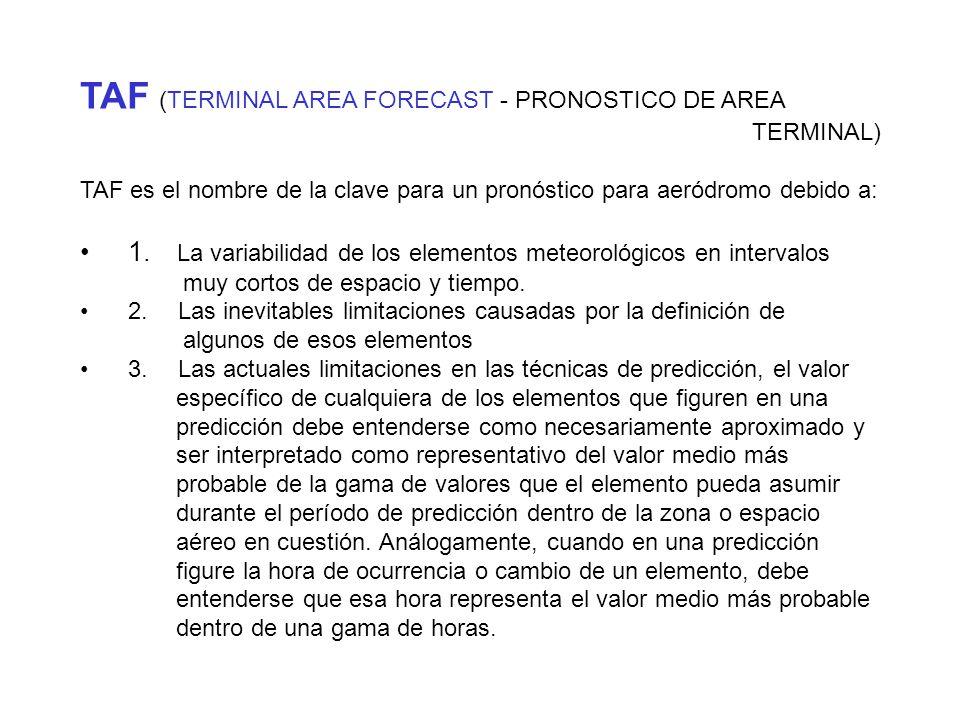 TAF (TERMINAL AREA FORECAST - PRONOSTICO DE AREA TERMINAL) TAF es el nombre de la clave para un pronóstico para aeródromo debido a: 1.