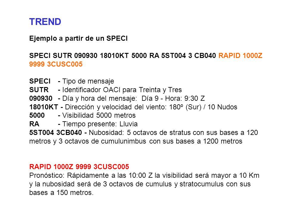 TREND Ejemplo a partir de un SPECI SPECI SUTR 090930 18010KT 5000 RA 5ST004 3 CB040 RAPID 1000Z 9999 3CUSC005 SPECI- Tipo de mensaje SUTR- Identificador OACI para Treinta y Tres 090930- Día y hora del mensaje: Día 9 - Hora: 9:30 Z 18010KT - Dirección y velocidad del viento: 180º (Sur) / 10 Nudos 5000- Visibilidad 5000 metros RA- Tiempo presente: Lluvia 5ST004 3CB040 - Nubosidad: 5 octavos de stratus con sus bases a 120 metros y 3 octavos de cumulunimbus con sus bases a 1200 metros RAPID 1000Z 9999 3CUSC005 Pronóstico: Rápidamente a las 10:00 Z la visibilidad será mayor a 10 Km y la nubosidad será de 3 octavos de cumulus y stratocumulus con sus bases a 150 metros.
