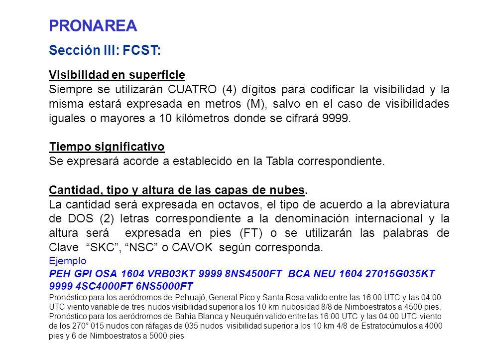 PRONAREA Sección III: FCST: Visibilidad en superficie Siempre se utilizarán CUATRO (4) dígitos para codificar la visibilidad y la misma estará expresada en metros (M), salvo en el caso de visibilidades iguales o mayores a 10 kilómetros donde se cifrará 9999.