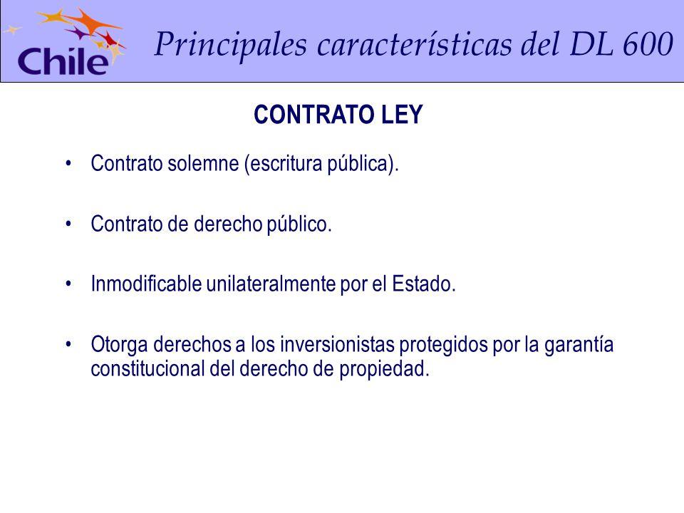 Principales características del DL 600 Contrato solemne (escritura pública).