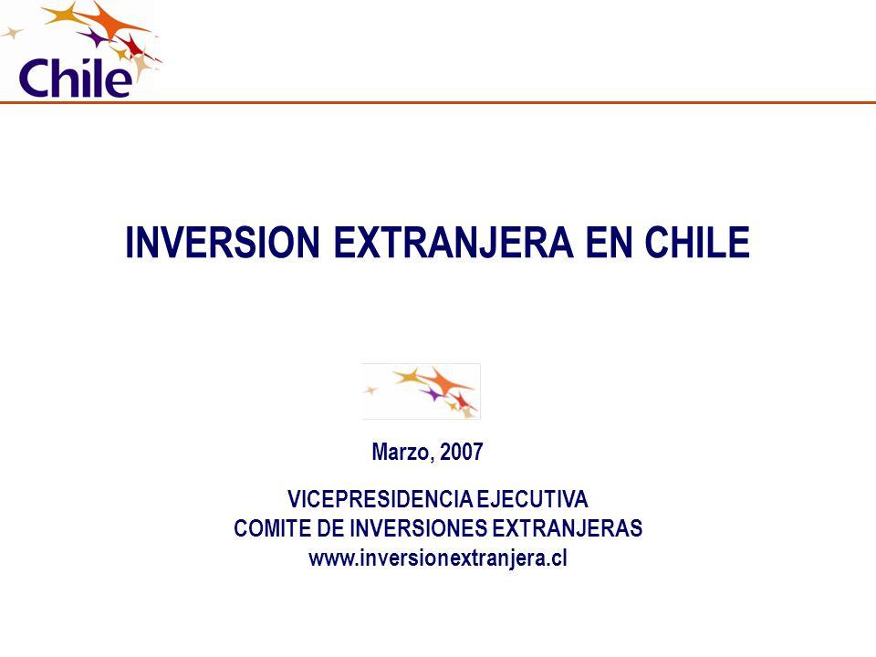 INVERSION EXTRANJERA EN CHILE VICEPRESIDENCIA EJECUTIVA COMITE DE INVERSIONES EXTRANJERAS www.inversionextranjera.cl Marzo, 2007