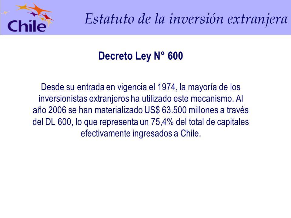 Principales características del DL 600 No Discriminación No Discrecionalidad de los Procedimientos Libre Acceso a Sectores Productivos Contrato Ley con el Estado de Chile Acceso al Mercado Cambiario Formal Remesas de Capital y Utilidades Elección del Régimen Tributario