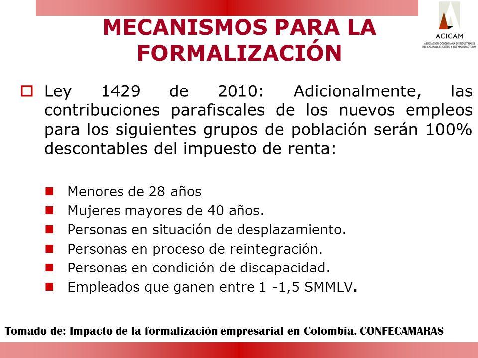 MECANISMOS PARA LA FORMALIZACIÓN Ley 1429 de 2010: Adicionalmente, las contribuciones parafiscales de los nuevos empleos para los siguientes grupos de