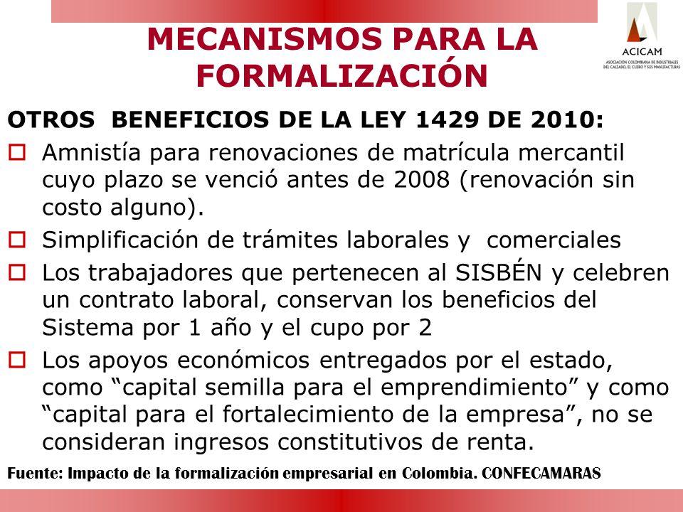 MECANISMOS PARA LA FORMALIZACIÓN OTROS BENEFICIOS DE LA LEY 1429 DE 2010: Amnistía para renovaciones de matrícula mercantil cuyo plazo se venció antes