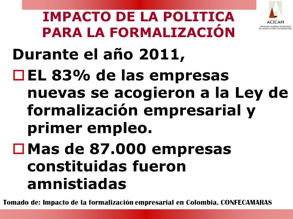 IMPACTO DE LA POLITICA PARA LA FORMALIZACIÓN Durante el año 2011, EL 83% de las empresas nuevas se acogieron a la Ley de formalización empresarial y p
