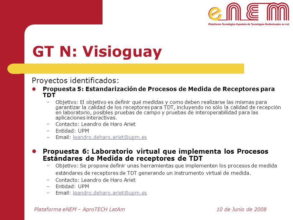 Plataforma eNEM – AproTECH LatAm10 de Junio de 2008 GT N: Visioguay Proyectos identificados: Propuesta 5: Estandarización de Procesos de Medida de Rec