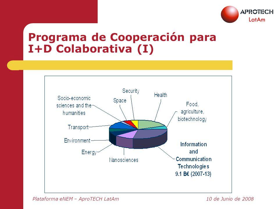 Plataforma eNEM – AproTECH LatAm10 de Junio de 2008 Programa de Cooperación para I+D Colaborativa (I)