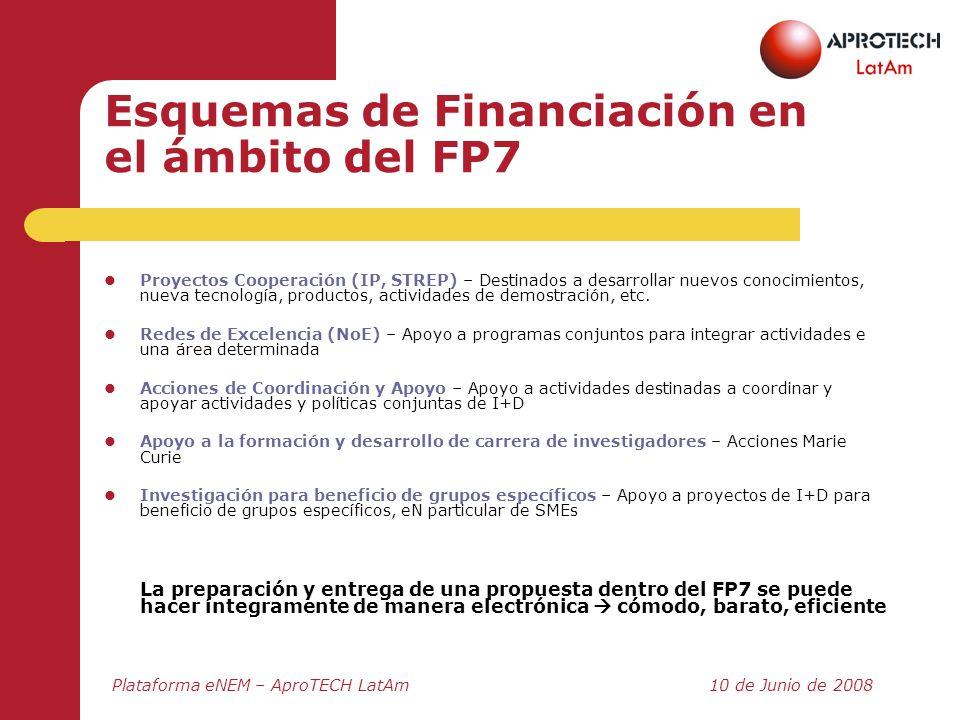 Plataforma eNEM – AproTECH LatAm10 de Junio de 2008 Esquemas de Financiación en el ámbito del FP7 Proyectos Cooperación (IP, STREP) – Destinados a des