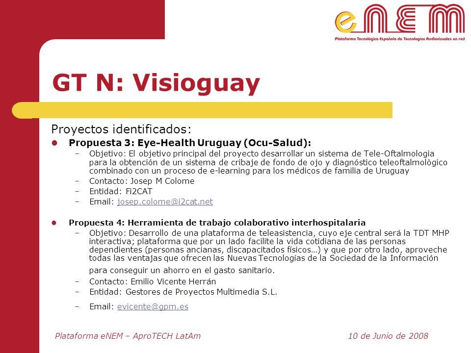 Plataforma eNEM – AproTECH LatAm10 de Junio de 2008 GT N: Visioguay Proyectos identificados: Propuesta 3: Eye-Health Uruguay (Ocu-Salud): –Objetivo: E