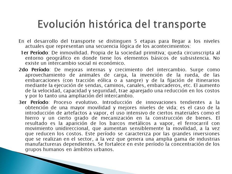 En el desarrollo del transporte se distinguen 5 etapas para llegar a los niveles actuales que representan una secuencia lógica de los acontecimientos: