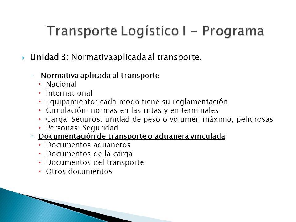 Unidad 3: Normativa aplicada al transporte. Normativa aplicada al transporte Nacional Internacional Equipamiento: cada modo tiene su reglamentación Ci