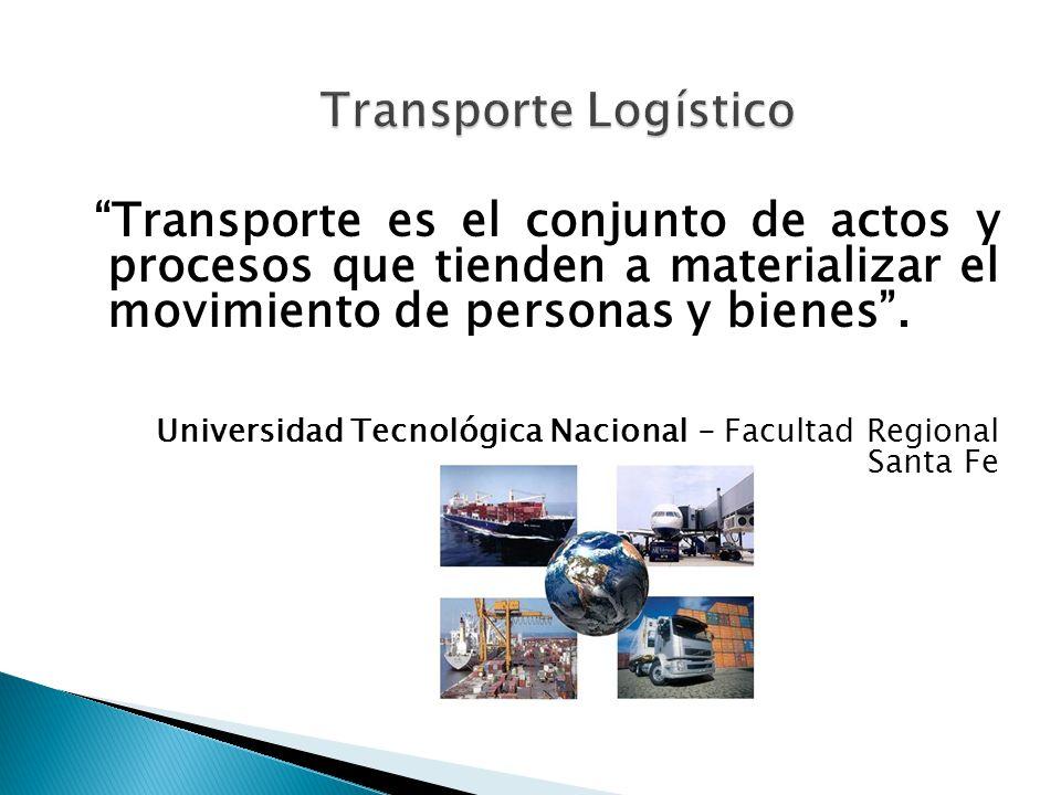 Transporte es el conjunto de actos y procesos que tienden a materializar el movimiento de personas y bienes. Universidad Tecnológica Nacional - Facult