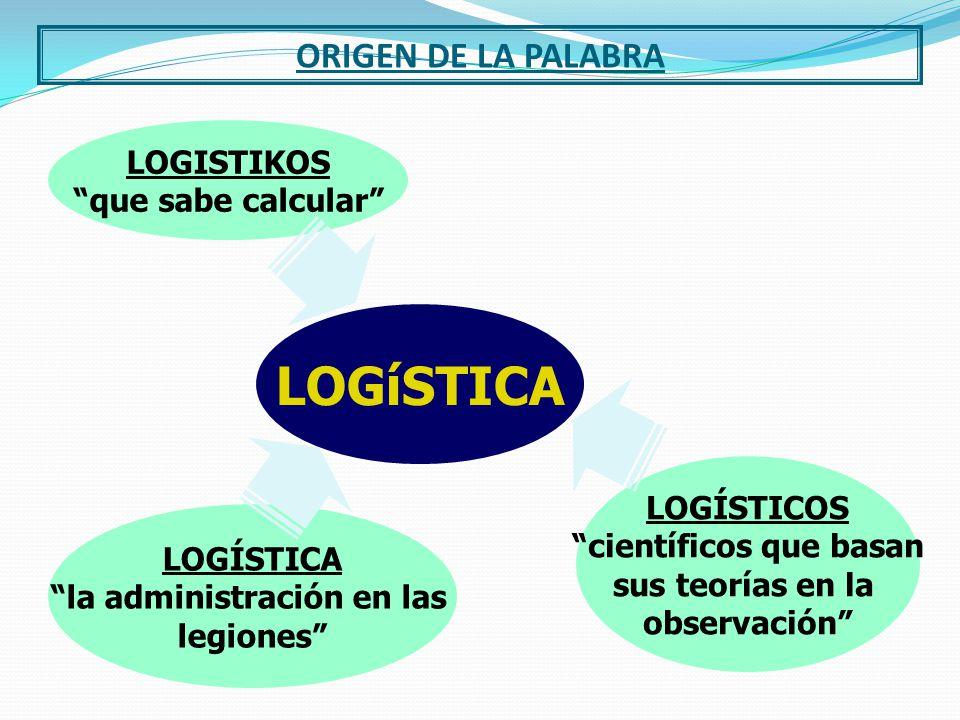 LA PALABRA LOGÍSTICA PROVIENE DEL GRIEGO LOGISTIKOS EL QUE ADMINISTRA EN EL EJERCITO EL QUE CALCULA