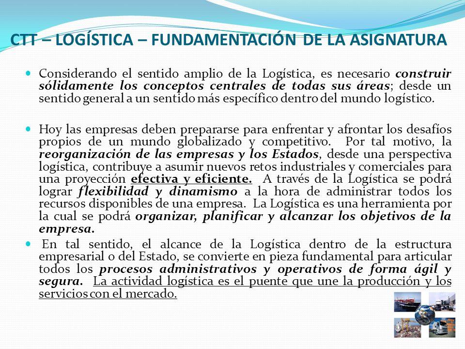 CTT – LOGÍSTICA – FUNDAMENTACIÓN DE LA ASIGNATURA Considerando el sentido amplio de la Logística, es necesario construir sólidamente los conceptos centrales de todas sus áreas; desde un sentido general a un sentido más específico dentro del mundo logístico.