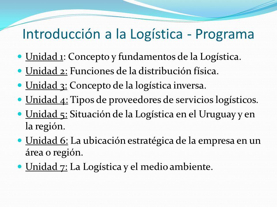 Introducción a la Logística - Programa Unidad 1: Concepto y fundamentos de la Logística.