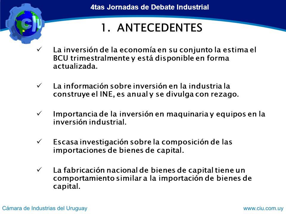1.ANTECEDENTES La inversión de la economía en su conjunto la estima el BCU trimestralmente y está disponible en forma actualizada.