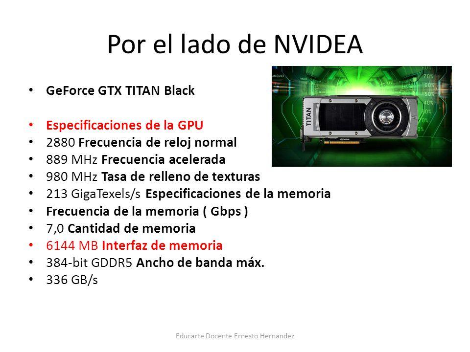 Por el lado de NVIDEA GeForce GTX TITAN Black Especificaciones de la GPU 2880 Frecuencia de reloj normal 889 MHz Frecuencia acelerada 980 MHz Tasa de