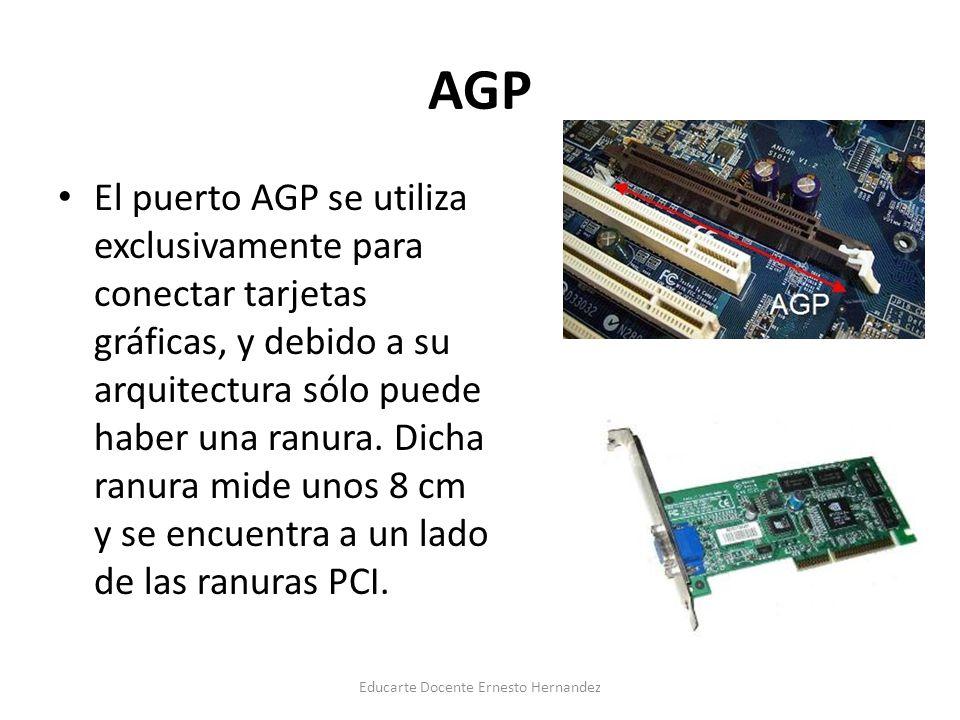 AGP El puerto AGP se utiliza exclusivamente para conectar tarjetas gráficas, y debido a su arquitectura sólo puede haber una ranura. Dicha ranura mide