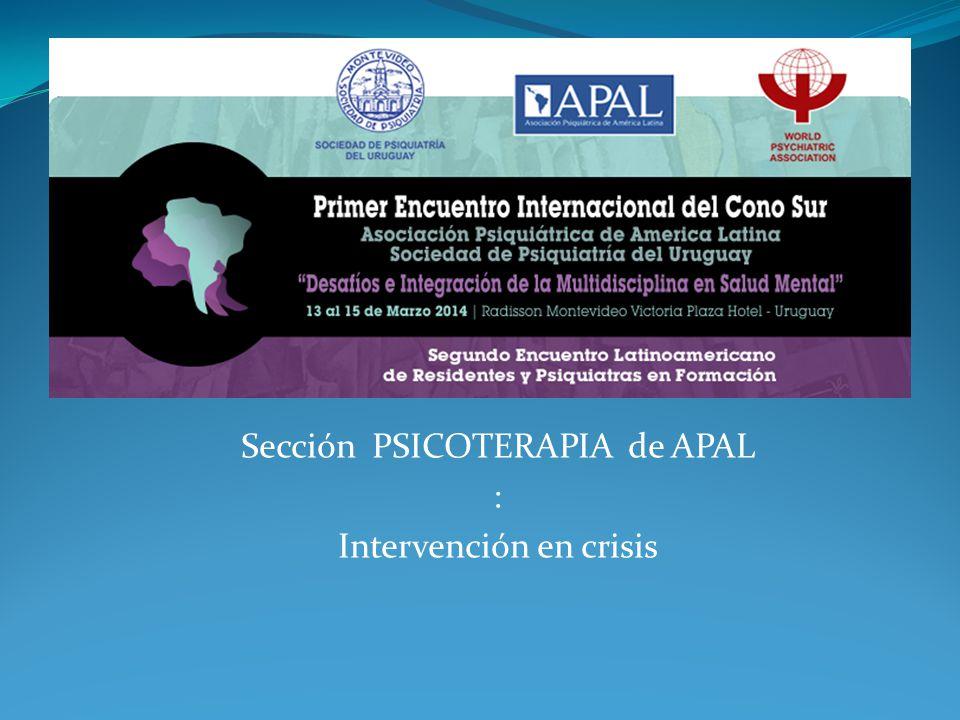 Sección PSICOTERAPIA de APAL : Intervención en crisis